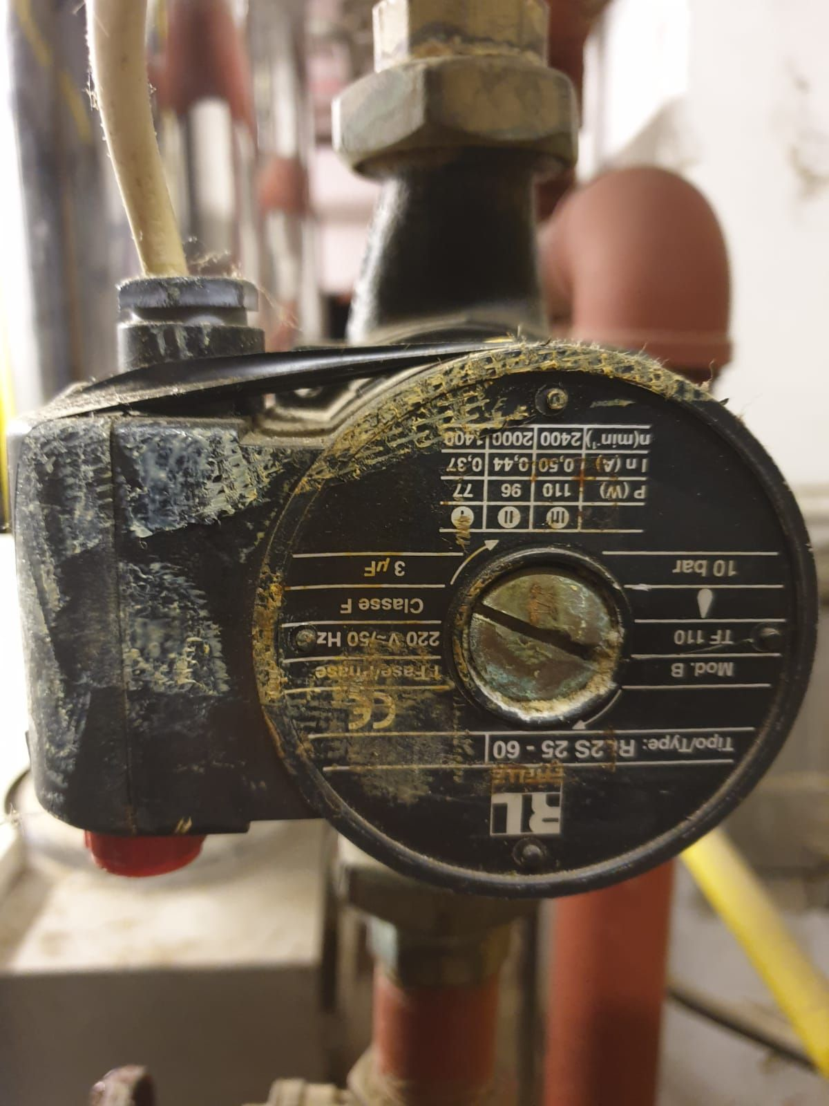 Insulation tape holding the outer case on circulation pump